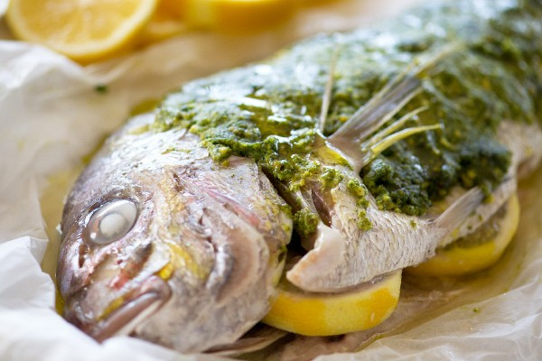 Whole Snapper with Pistachio Paste