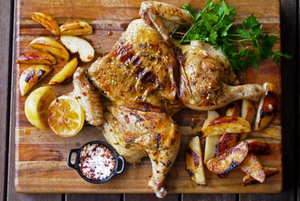 Spiced Flattened Chicken with Potatoes